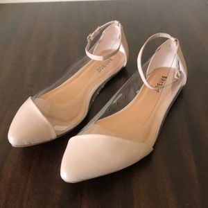 Bamboo Tan/Clear Ankle Strap Flats 11/41 NWOB
